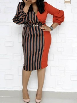 Ericdress Plus Size Stripe Color Block Patchwork V-Neck Dress