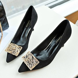 Ericdress Plain Sequin Pointed Toe Stiletto Heel Women's Pumps