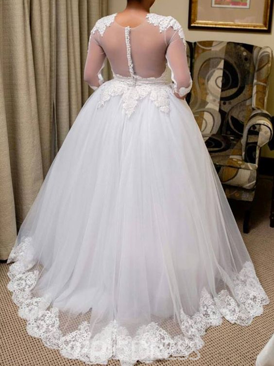 Ericdress Sheer Back Button Half Sleeves Plus Size Wedding Dress