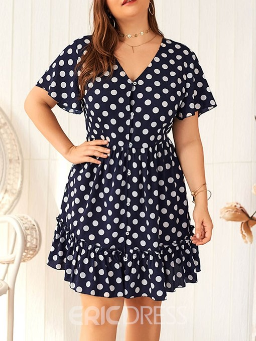 Ericdress Plus Size Polka Dots Above Knee Short Sleeve A-Line Dress
