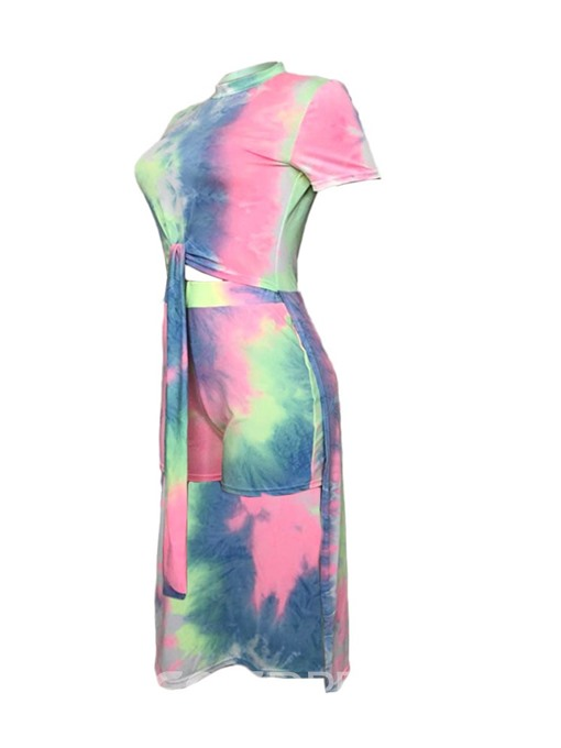 Ericdress Fashion Tie--Dye Color Block Women's Suir T-Shirt And Shorts Two Piece Sets