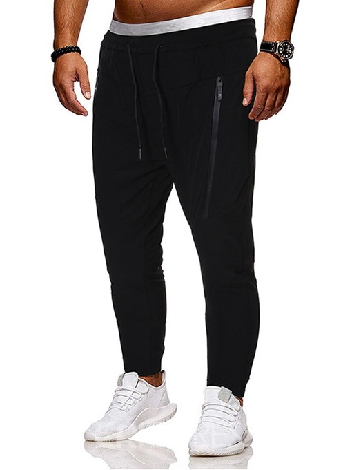 Ericdress Plain Zipper Thin Lace-Up Men's Casual Pants