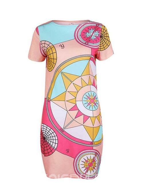 Ericdress Geometric Print Short SleeveBodycon Round Neck Regular Dress