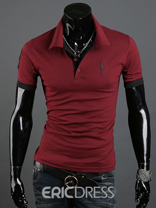Ericdress Lapel Plain Mens Polo Shirt
