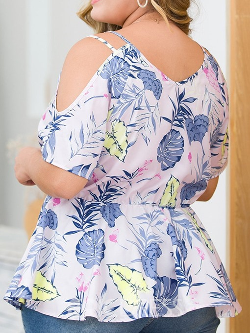 Ericdress Plus Size V-Neck Floral Sexy Blouse