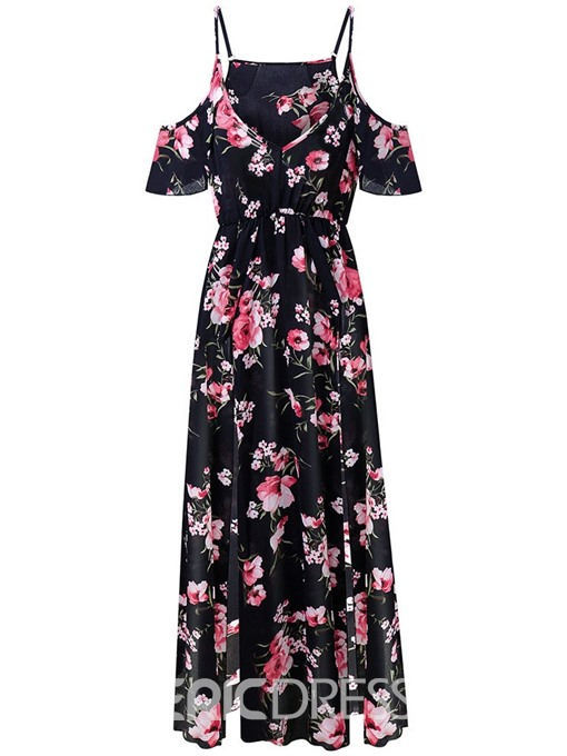 Ericdress Cold Shoulder Floral Floor-Length Hollow Travel Look A-Line Dress