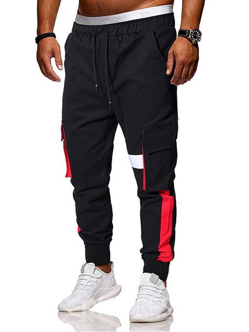 Ericdress Patchwork Thin Color Block Lace-Up Mens Casual Pants