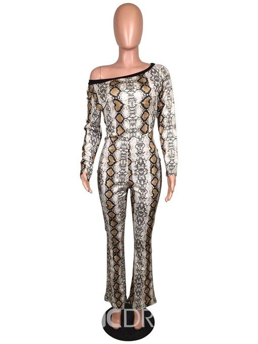 Ericdress African Fashion Print Serpentine Slim Straight Jumpsuit(Without Waistband)