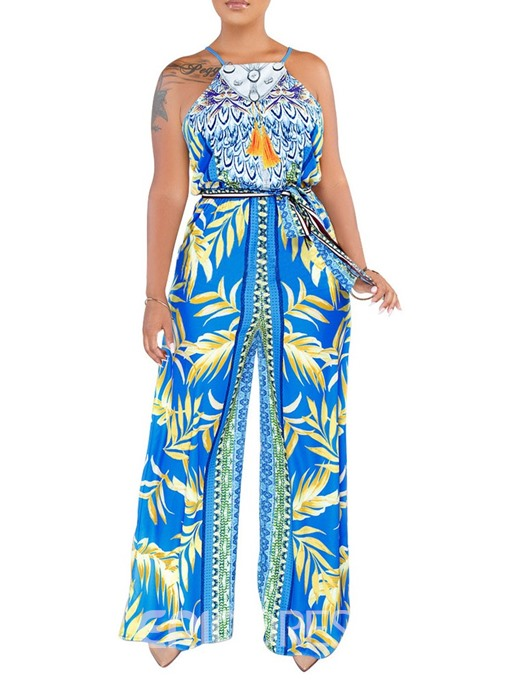 Ericdress African Fashion Floral Print Loose Jumpsuit