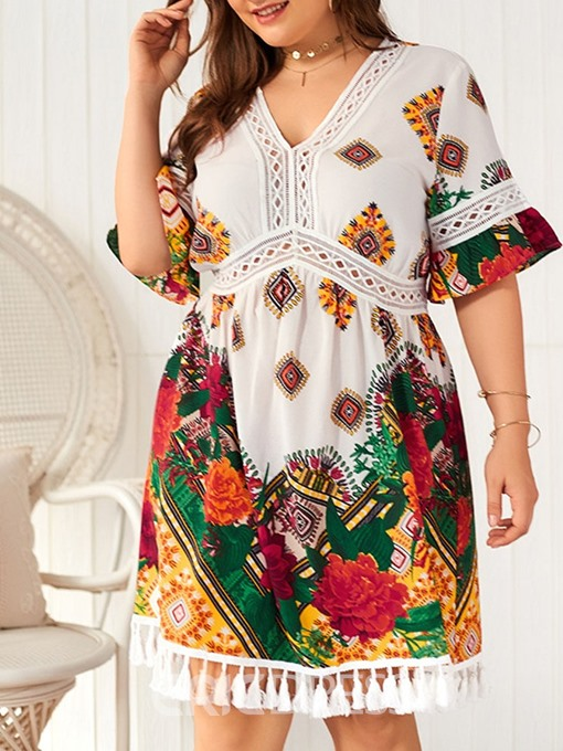 Ericdress Plus Size Print Tassel Hollow V-Neck Travel Look Dress