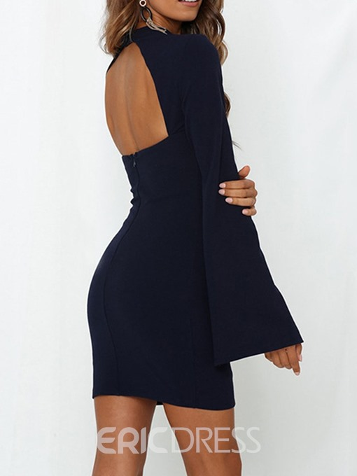 Ericdress OL Single Plain Bodycon Split Stand Collar Mid Waist Dress