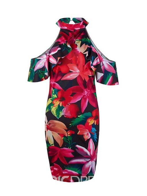 Ericdress Bodycon Floral Print Cold Shoulder Above Knee Dress