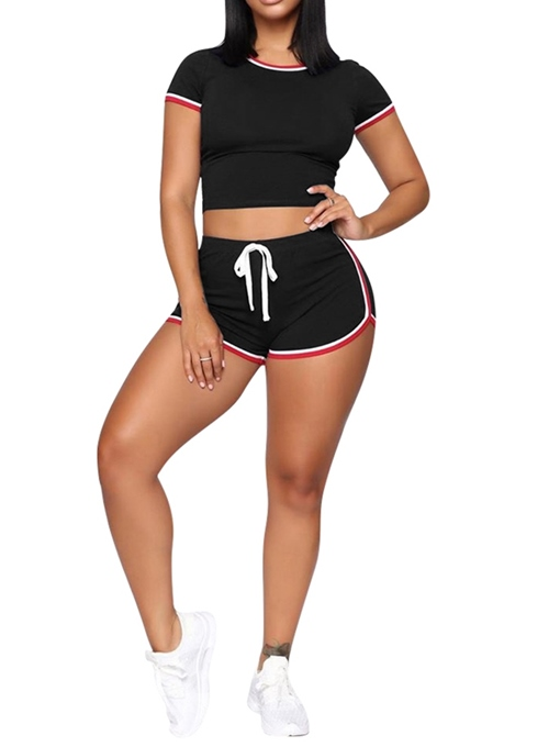 Ericdress Lace-Up Stripe Sport Women's Suiit T-Shirt And Shorts Two Piece Sets