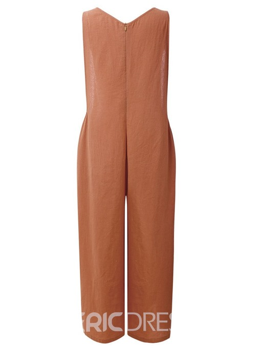 Ericdress Casual Plain Lace-Up Loose High Waist Jumpsuit