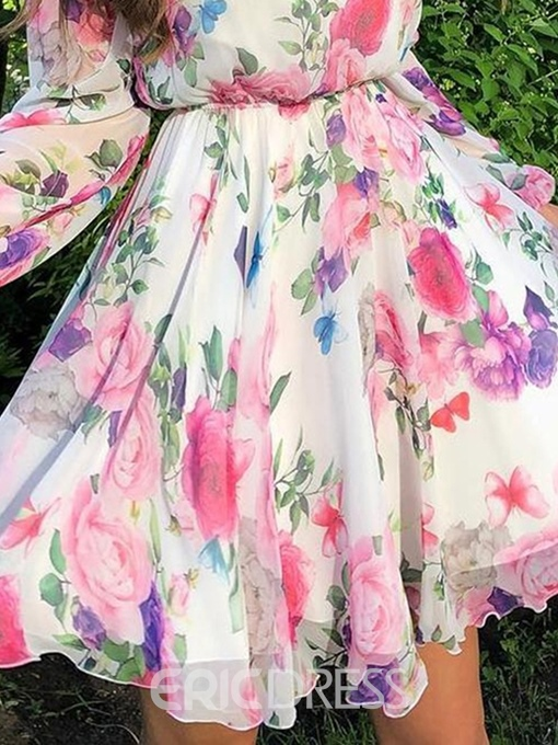 Ericdress Floral Print A-Line Round Neck Above Knee Floral Dress