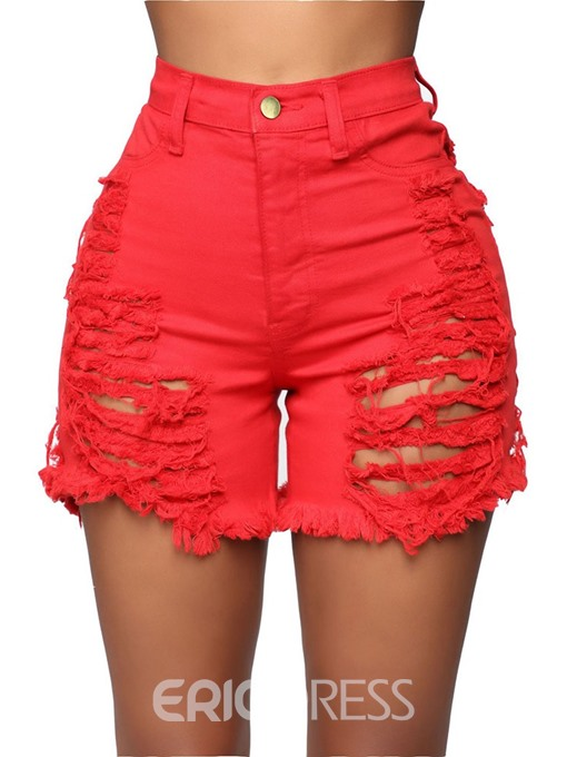 Ericdress Plain Denim Ripped High Waist Slim Shorts