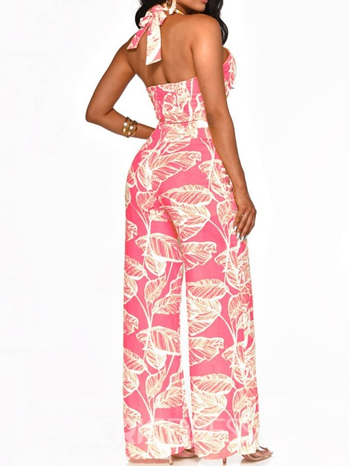 Ericdress Floral Print Lace-Up Sexy High Waist Jumpsuit