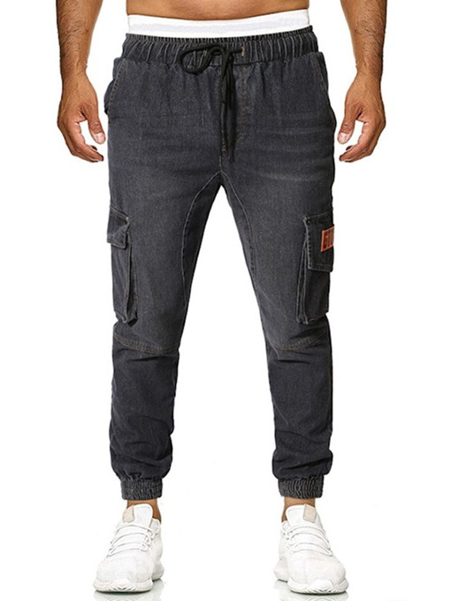 Ericdress Thin Color Block Lace-Up Mid Waist Mens Casual Jeans