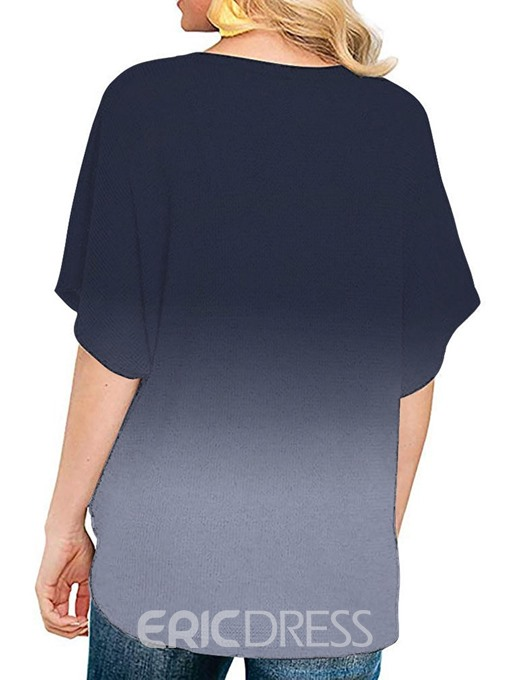 Ericdress Gradient Button V-Neck Mid-Length Casual Blouse