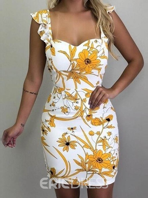 Ericdress Floral Bodycon Above Knee Cap Sleeve Backless Mid Waist Dress