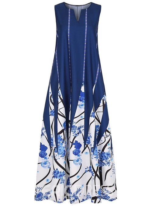 Ericdress Casual Color Block Pocket Ankle-Length Print Sleeveless Dress