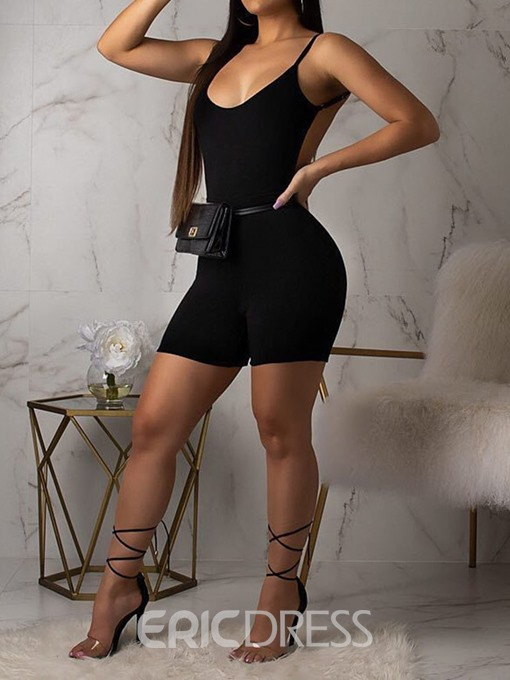 Ericdress Sexy Black Backless Mid Waist Skinny Romper