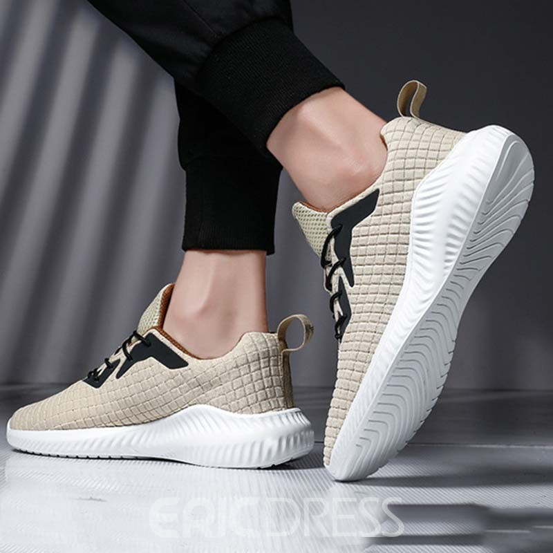 Ericdress Flyknit Color Block Lace-Up Men's Outdoor Sneakers