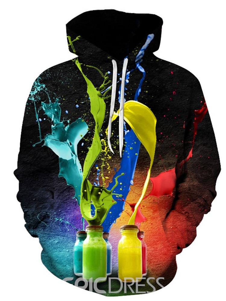 Ericdress Print Pullover Thick Men's Casual Hoodies