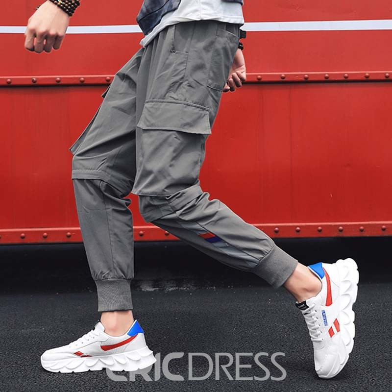 Ericdress Mesh Lace-Up Color Block Men's Outdoor Shoes