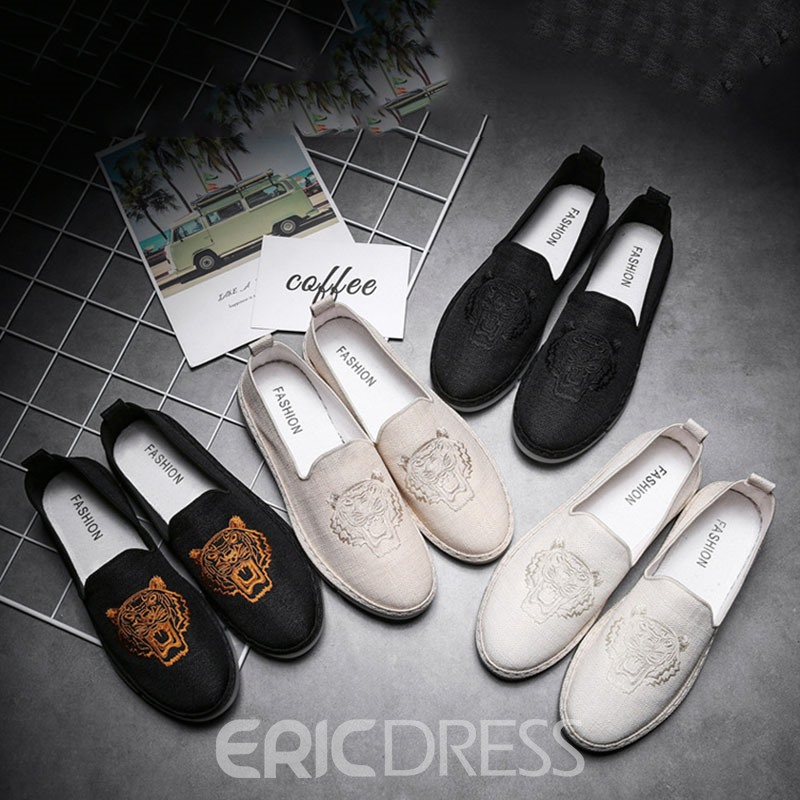Ericdress Canvas Color Block Slip-On Round Toe Men's Casual Shoes