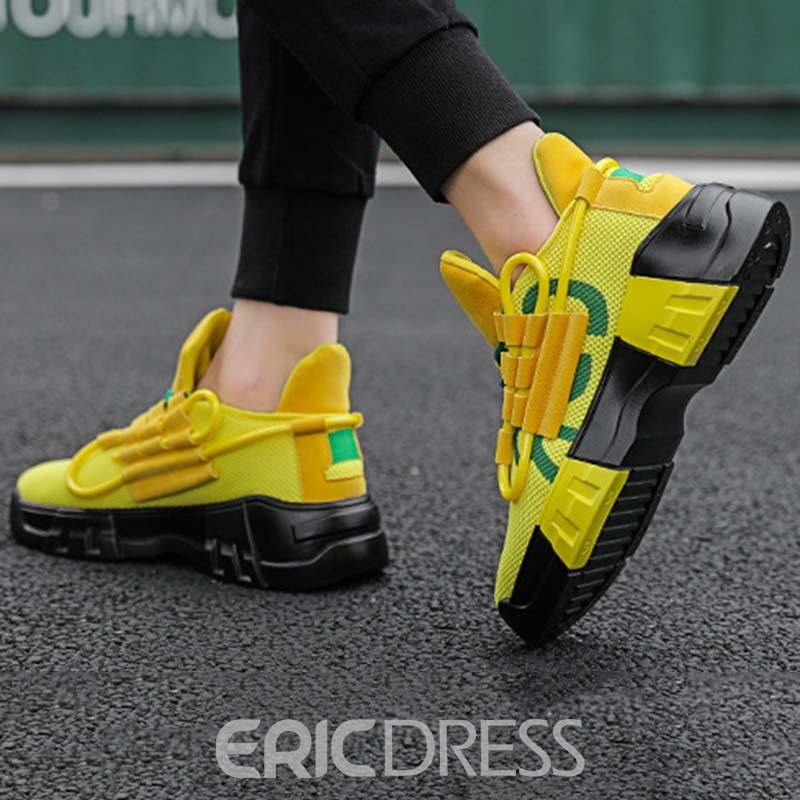 Ericdress Color Block Lace-Up Round Toe Men's Mesh Sneakers