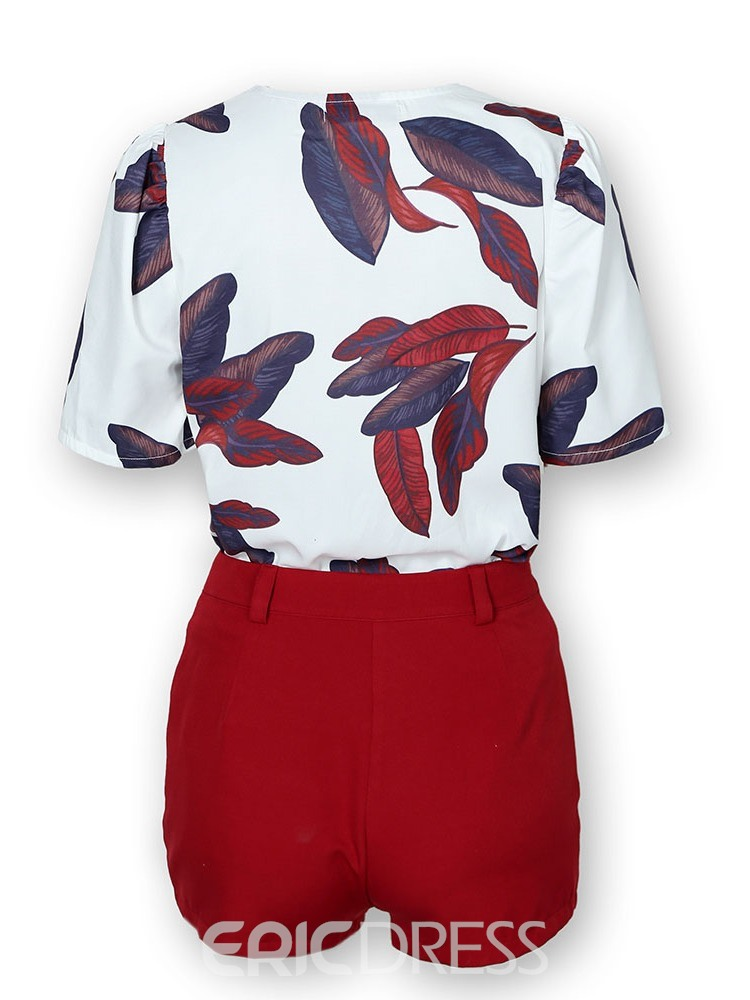 Ericdress Plant Print V-Neck Women's Suit Shirt And Shorts Two Piece Sets(Without Belt)