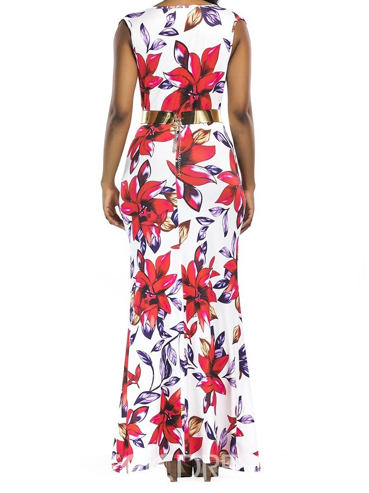 Ericdress Floral Print Bodycon Sexy Split V-Neck Ankle-Length Dress