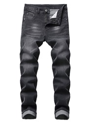 Ericdress Button Color Block Casual Mens Mid Waist Jeans фото