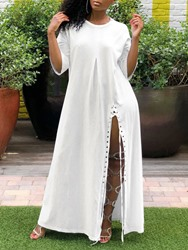 Ericdress Casual Split Round Neck Three-Quarter Sleeve Ankle-Length Dress фото