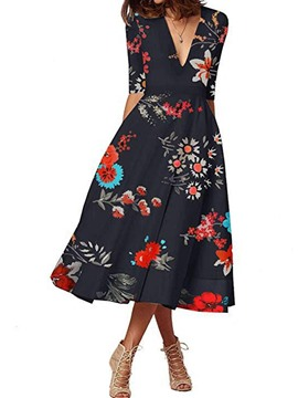 Ericdress Print Expansion Half Sleeve Mid-Calf Floral Regular Dress