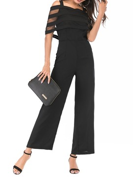 Ericdress Mesh Patchwork See-Through High Waist Wide Legs Jumpsuit