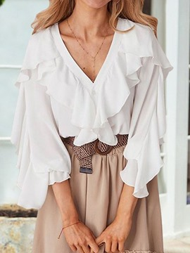 Ericdress Plain V-Neck Ruffles Elegant Blouse