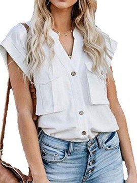 Ericdress Pocket V-Neck Button Short Sleeve Casual Blouse