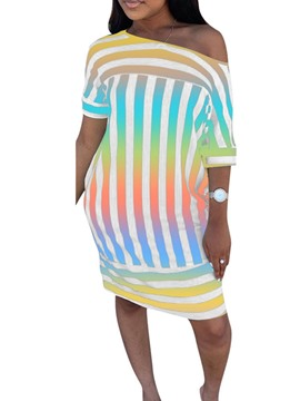 Ericdress Striped Batwing Sleeve Above Knee Round Neck Straight Dress