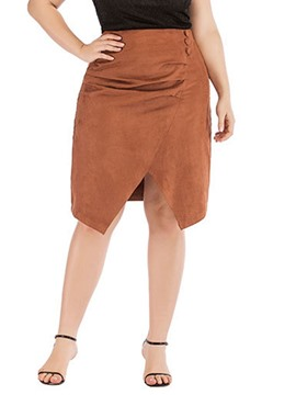Ericdress Plus Size High Waist Asymmetric Plain Knee-Length Skirt