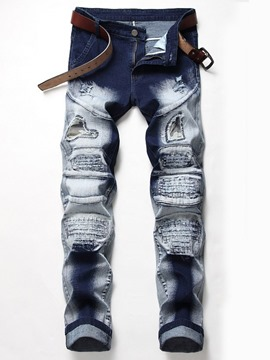 Ericdress Patchwork Mid Waist Men's Zipper Jeans