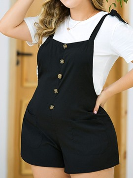 Ericdress Plus Size Button Loose Mid Waist Jumpsuit