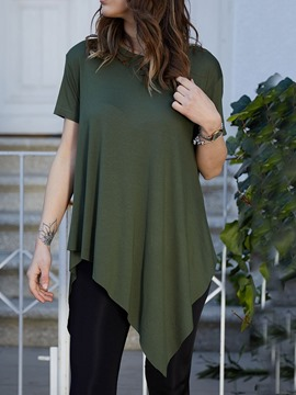 Ericdress Asymmetric Short Sleeve Round Neck Casual T-Shirt