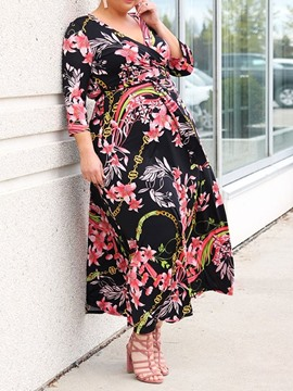 Ericdress Plus Size Print V-Neck A-Line Casual Standard-Waist Dress
