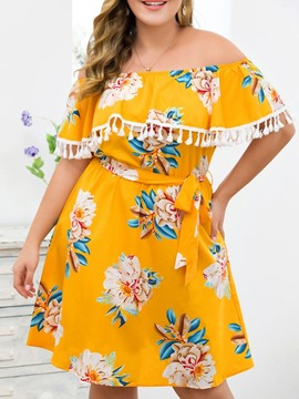 Ericdress Plus Size Off Shoulder Floral Tassel A-Line Knee-Length Dress