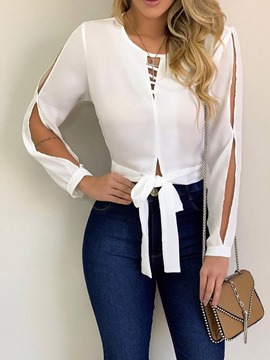Ericdress Lace-Up Round Neck Hollow Fashion Blouse