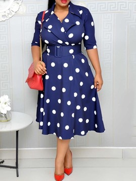 Ericdress Polka Dots A-Line Mid-Calf Half Sleeve Regular OL Dres(Without Waistband)