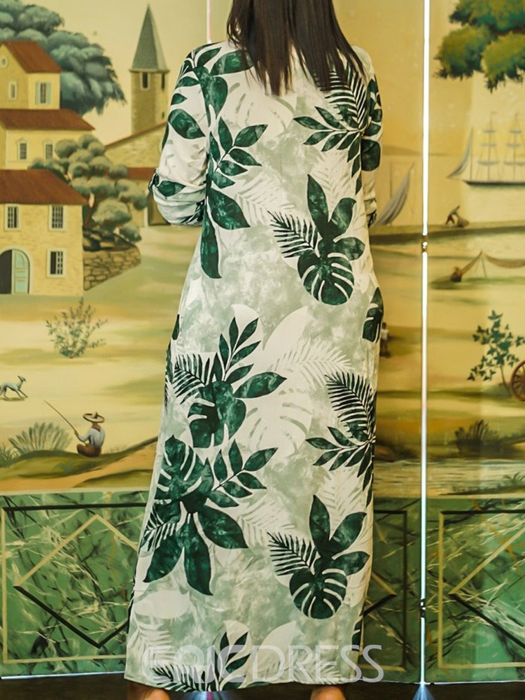 Ericdress Print Pocket Ankle-Length Lapel Plant Single-Breasted Dress