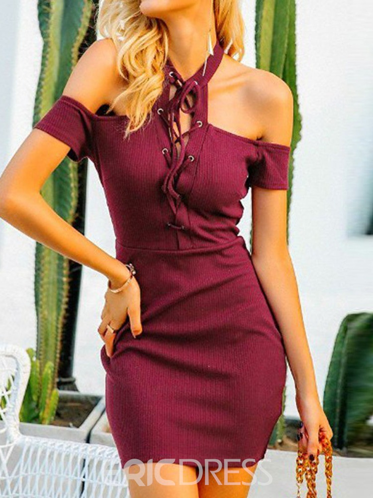Ericdress Bodycon Halter Above Knee Lace-Up Short Sleeve Dress